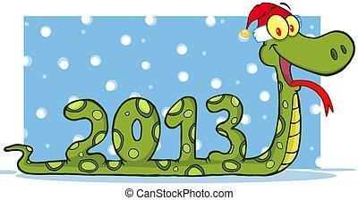 cobra, mostrando, números, 2013, com, chapéu