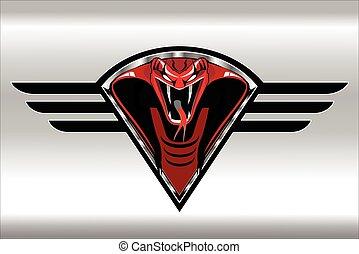 cobra rei, escudo, vermelho