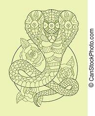 Cobra snake color drawing vector