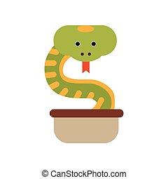 Cobra snake coming out of a jug, symbol of India vector Illustration