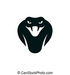 Cobra head icon or logo. Stylized snake mascot vector illustration.