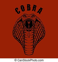 Cobra. Snake head illustration in engraving style. Design element for poster, card, emblem, banner, logo. Vector illustration