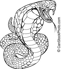 Black and white illustration of a cobra snake preparing to strike