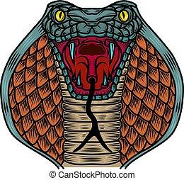 Cobra snake illustration in old school tattoo style. Design element for logo, label, sign, poster, t shirt.