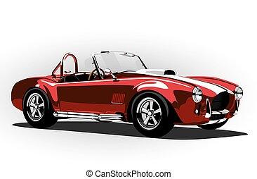 cobra, voiture classique, rouges, sport, roadster