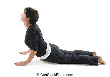 cobra, yoga, coude, femme, presse, position