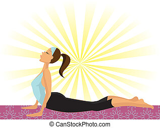 cobra, yoga houding, bhujangasana), meisje, (doing, of