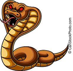 cobra, zangado, caricatura, cobra