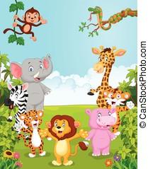 cobrança, caricatura, animal, feliz