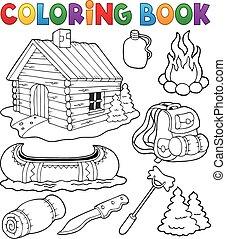 cobrança, coloração, ao ar livre, livro, objetos