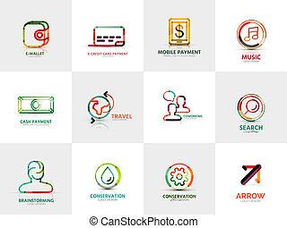 cobrança, companhia, negócio, logotipos, conceitos