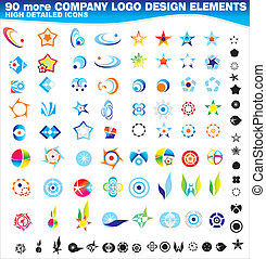 cobrança, de, 90, mais, companhia, logotipos, desenho