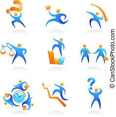cobrança, de, abstratos, pessoas, logotipos, -, 9