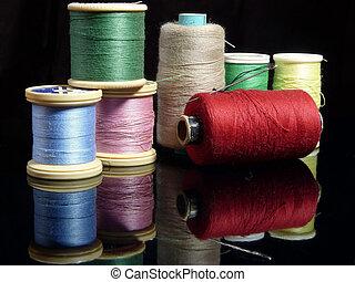 cobrança, de, algodão, carretéis