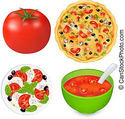 cobrança, de, alimento, pratos, com, tomates