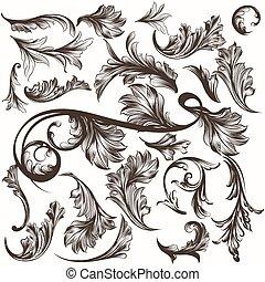 cobrança, de, antigüidade, mão, desenhado, ou