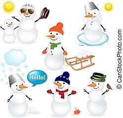 cobrança, de, bonecos neve