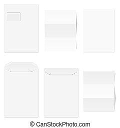 cobrança, de, branca, envelopes, com, papel cópia