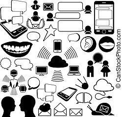 cobrança, de, comunicações, ícones
