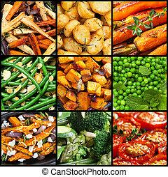 cobrança, de, cozinhado, vegetal, pratos