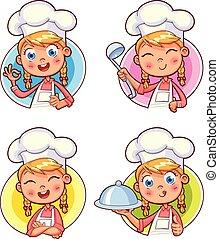 cobrança, de, cozinheiro, cozinheiro, retratos, em, diferente, situações