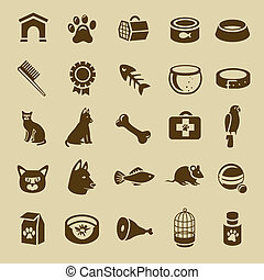 cobrança, de, cuidado animal estimação, ícones, -, vetorial,...