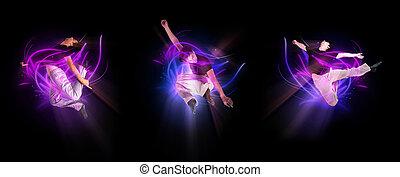 cobrança, de, elegante, modernos, bailarino balé, pular