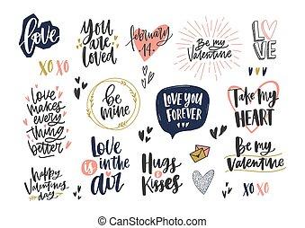 cobrança, de, elegante, valentine, s, dia, letterings, com,...