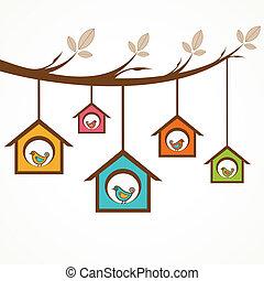 cobrança, de, engraçado, pássaros, em, alimentador