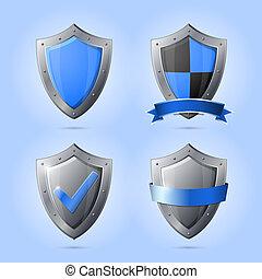 cobrança, de, escudo, emblemas