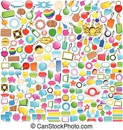 cobrança, de, etiquetas, etiquetas, e, fala, bolhas