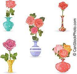 cobrança, de, flores, vasos, com, rosas, para, seu, desenho