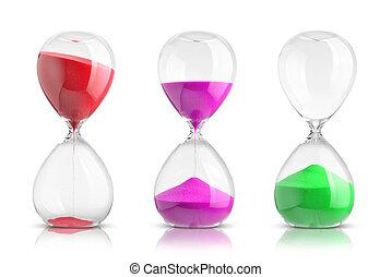 cobrança, de, hourglasses, isolado, branco, fundo