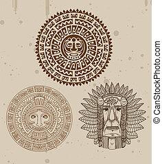 cobrança, de, indianas, tatuagens, com, maya, caras