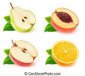 cobrança, de, isolado, fruta, metades