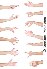 cobrança, de, mulher, mãos, passe segurar