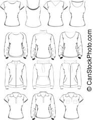 cobrança, de, mulheres, roupas, esboço, modelos
