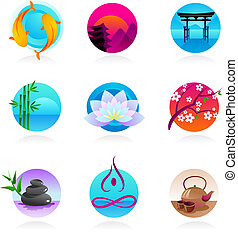 cobrança, de, oriental, estilo, ícones