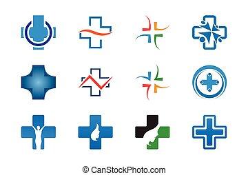cobrança, de, original, saúde, crucifixos, modelo, vetorial