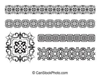 cobrança, de, ornamental, regra, linhas