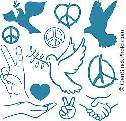 cobrança, de, paz, e, amor, themed, ícones