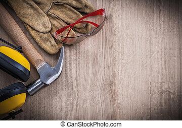 cobrança, de, segurança, trabalhando, ferramentas, e, martelo garra, espaço cópia