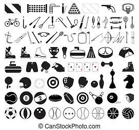 cobrança, de, vário, esportes, accessories., um, vetorial,...