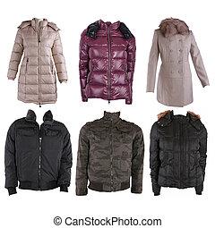 cobrança, de, vário, tipos, de, inverno, jaquetas