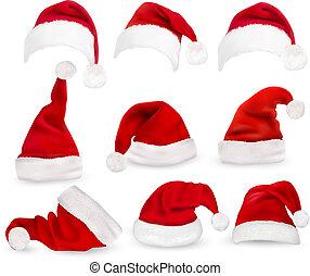cobrança, de, vermelho, santa, hats., vector.