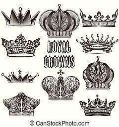 cobrança, de, vetorial, coroas, para, des
