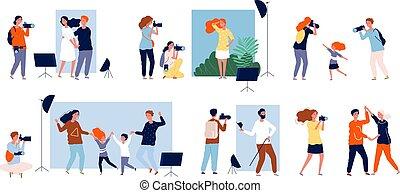 cobrança, dslr, câmera, foto, photosesion., trabalho, vetorial, fazer, modelos, estúdio, pessoas, fotógrafos