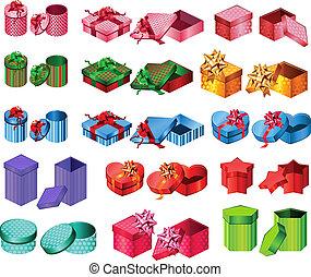 cobrança, grande, boxes., presente