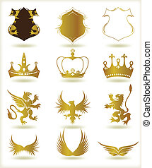 cobrança, heraldic, ouro, elements., vetorial