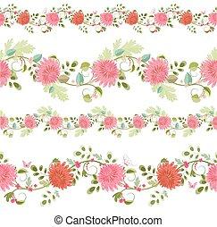 cobrança, isolado, de, seamless, fronteiras, com, chrysanthemums